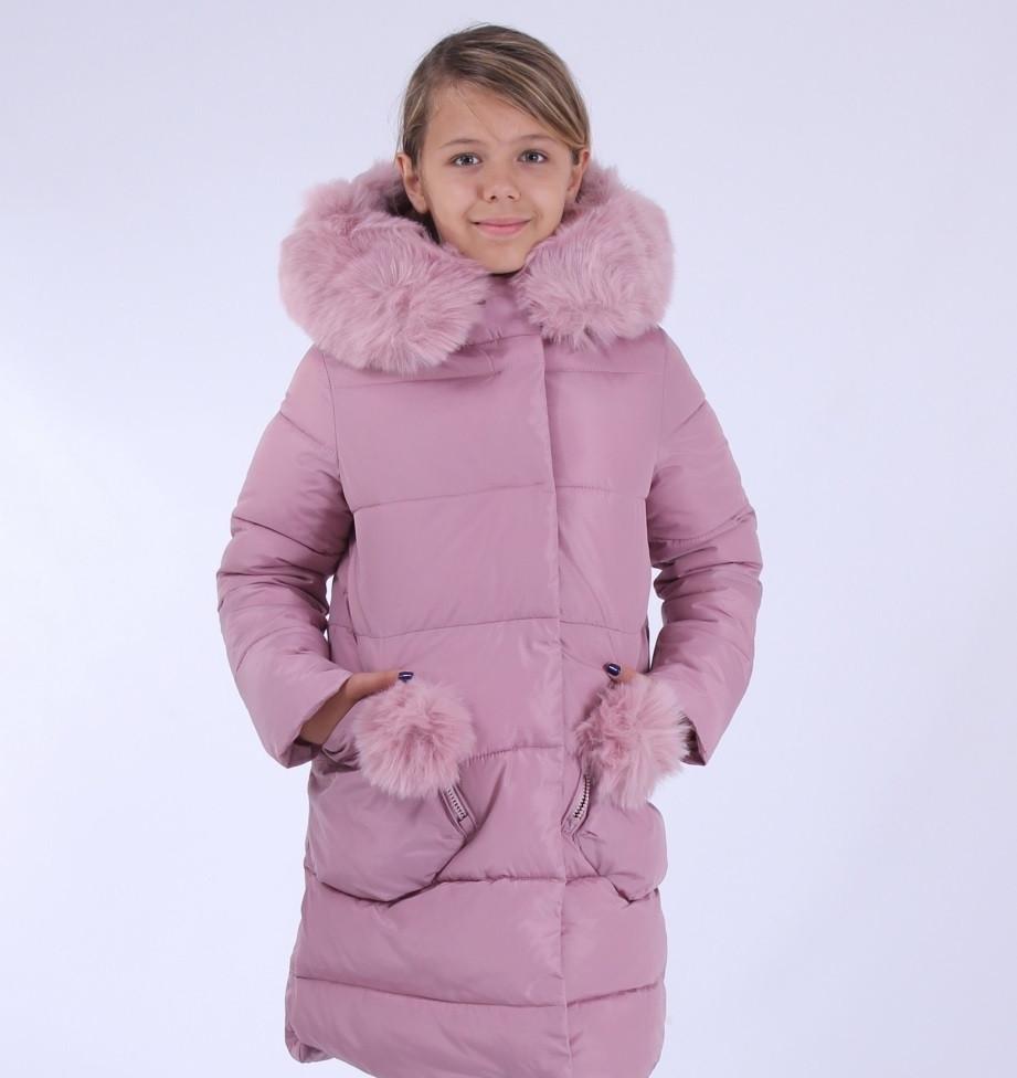 0e6f8f959b52 Детское зимнее пальто для девочки Кико 4568, нп рост 122.Цвет пудра. Новинка