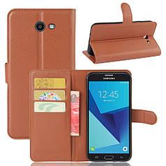 Чехол для Samsung Galaxy J7 2017 J720 J720F US Version книжка кожа PU коричневый