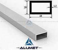 "Труба алюминиевая 40х20х1.1мм прямоугольная АД31Т5 AS анодированная ""матовое серебро"""