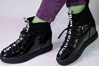 Закрытые высокие туфли. Сникерсы. L.F.- лак  black, р.36-41, фото 1