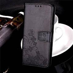 Чехол книжка для Xiaomi Redmi 5a кожа PU Clover черный