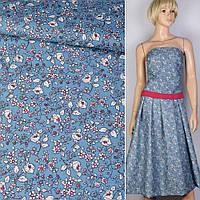 Коттон хлопоковая ткань хлопок синий в белый цветок ш.150 ткань