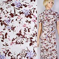 Коттон хлопоковая ткань хлопок белый в коричнево розовый сиреневые цветы ш.145 ткань