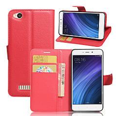 Чехол для Xiaomi Redmi 4a книжка кожа PU красный