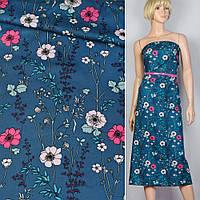 Коттон хлопок ткань синий в розовый синие цветы ш.140