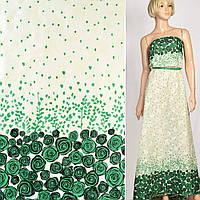 Батист хлопковая ткань деворе ткань кремовый в зеленые розы купон, ш.140
