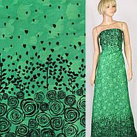 Батист хлопковая ткань деворе ткань зеленый в черные розы купон, ш.140