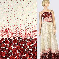 Батист хлопковая ткань деворе ткань кремовый в красные розы купон, ш.140