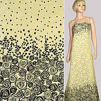 Батист хлопковая ткань деворе ткань желтый светлый в черные розы купон, ш.140