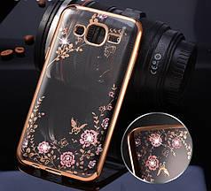 Чехол Luxury для Samsung J1 2016 J120 бампер Gold