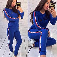 """Женский спортивный костюм """"Everton"""": штаны и свитшот на манжетах с лампасами голубой, фото 2"""