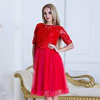 """Красное вечернее, выпускное пышное платье """"Айриш"""", фото 1"""