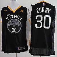 Вышивка черная мужская майка Nike Curry №30 команда Golden State Warriors сезон 2017-2018