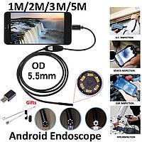USB эндоскоп c зеркалом и подсветкой для Android и ПК (3м) 5.5мм
