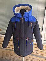 Зимняя парка на овчине для мальчика подростка (36-46 рр)(плащевка) темно-синий с электриком
