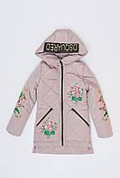 Стильная Деми Куртка для Девочки Удлинённая Пудровая №2 Рост 122-177 см