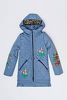 Стильная Деми Куртка для Девочки Удлинённая Цвет Св.Джинс Рост 122-177 см