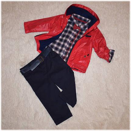 Демисезонная куртка для мальчика + джинсы и рубашка (комплект) Турция красный размер 74-80 , фото 2