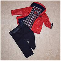 Демисезонная куртка для мальчика + джинсы и рубашка (комплект) Турция красный размер 74-80