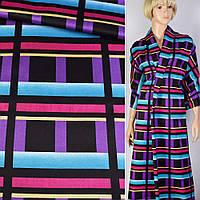 Атлас атласная ткань саржевый плотный в черный  фиолетово голубую клетку ш.150 ткань