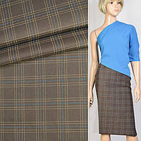 316307490 - Ткань костюмная коричневая в синюю и бежевую клетку, ш.152