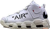 Мужские баскетбольные кроссовки Off-White x Nike Air More Uptempo On Feet White