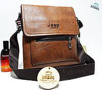 Мужская сумка планшетка Jeep кожа PU коричневая, фото 1