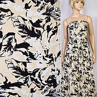Коттон хлопоковая ткань хлопок Жаккард жаккардовая ткань стрейч бежевый в черный  белые цветы ш.145 ткань
