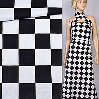 Коттон хлопоковая ткань хлопок Жаккард жаккардовая ткань стрейч черный  белые квадраты 4 5см ш.145 ткань