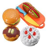 6шт пластиковые резки sclice кусок торта гамбургера Хотдог кухня еды дети дети делают вид играть игрушка