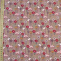 320477492 - Коттон с ворсом бежевый, красно-белые жирафы и цветы, ш.145