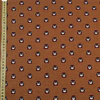 320597492 - Коттон с ворсом коричневый, фиолетовые совы, ш.150