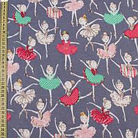 320697492 - Коттон с ворсом сине-серый, разноцветные балерины, ш.145