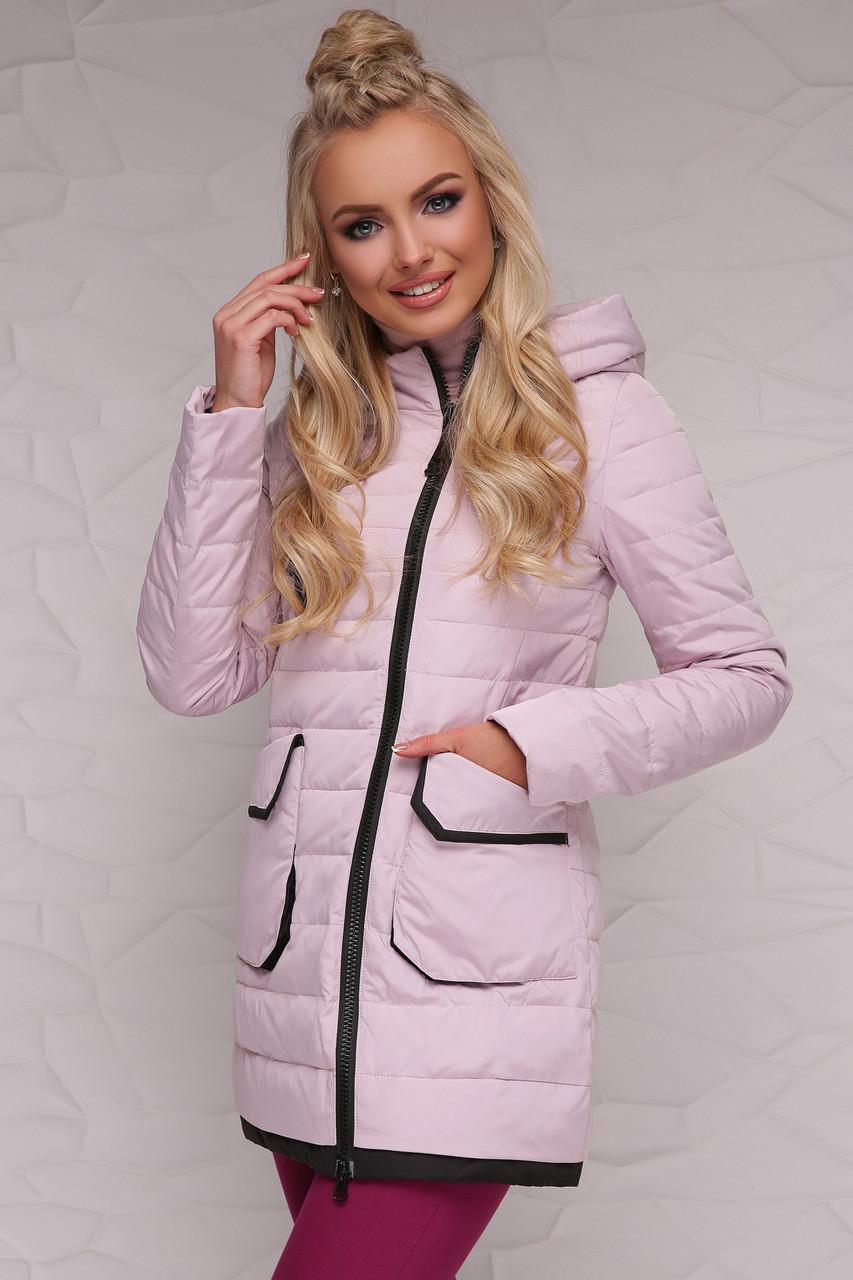 Демисезонная прямая женская куртка, розовая