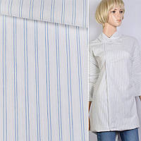 Рубашечная ткань белый в двойную синюю полосу ш.140 ткань