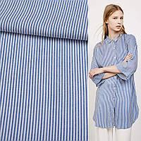 Рубашечная ткань в синюю белую полосу 1*2 ш.145 ткань