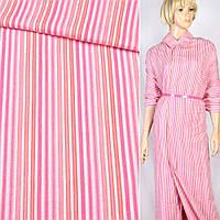 Ткань рубашечная в красно розовую полоску, ш.150