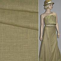 Лен льняная ткань коттон хлопковая ткань хлопок т/оливковый со штрихами ш.140