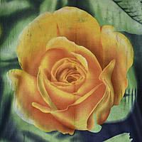 Флис зеленый в желтые розы флисовая ткань