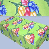 Флис зеленый с тюльпанами флисовая ткань