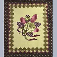 Флис желтый - оливковый розой и бордовой каймой флисовая ткань