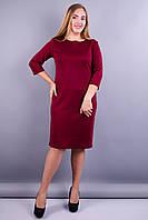 Стильне ніжне жіноче плаття Аріна+ батал колір бордо 50 52 54 56 58 60 62 64 французький трикотаж