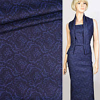 351427490 - Коттон стрейч синий темный в синий цветочный узор, ш.160