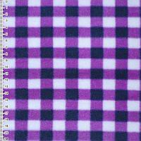 Флис белый в сиренево черные квадраты шир 160 см флисовая ткань