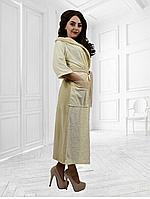 Велюровый халат Аннушка с капюшоном длинный