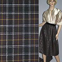 369030406 - шотландка коричнево-черная с серебрист. люрексом ш.145