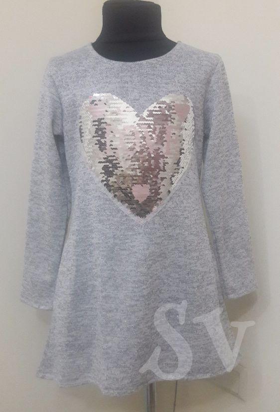 Модная туника Сердце с карманами для девочки 122-140.