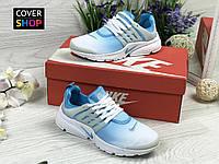 Кроссовки женские Nike Air Presto, бело-голубые, материал - текстильная сетка
