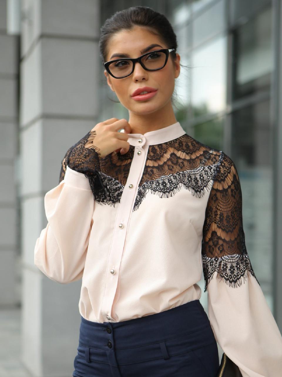 S, M, XL / Женская блузка з гіпюром Gilmor, персик