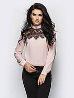 XS, S, M, L, XL / Молодежная блузка с гипюром Opera, бежевый